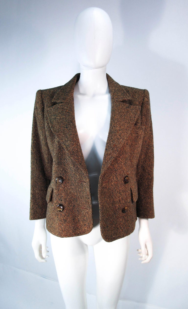YVES SAINT LAURENT 1970's Brown & Green Skirt Suit Size 4 6 For Sale 14