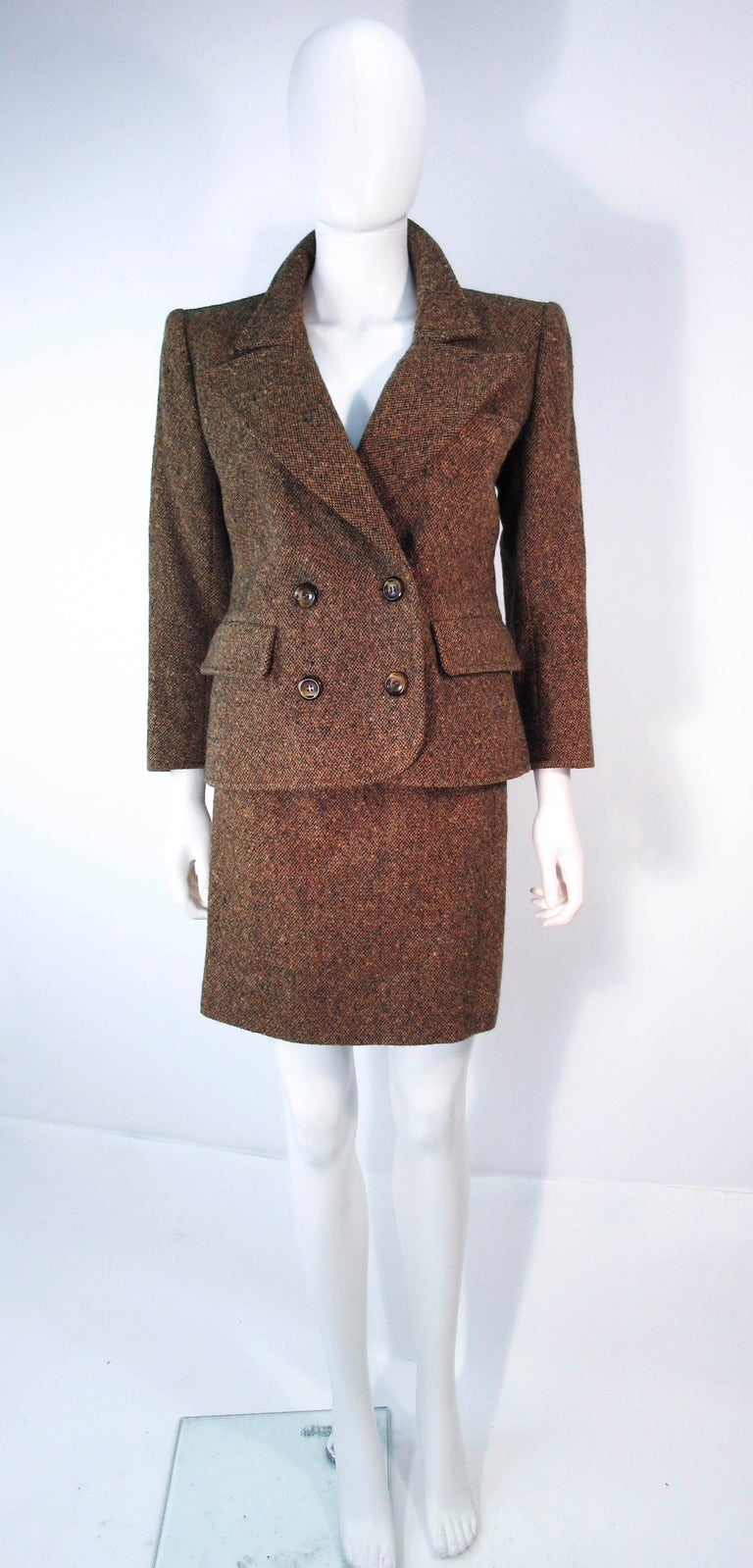 YVES SAINT LAURENT 1970's Brown & Green Skirt Suit Size 4 6 In Excellent Condition For Sale In Los Angeles, CA