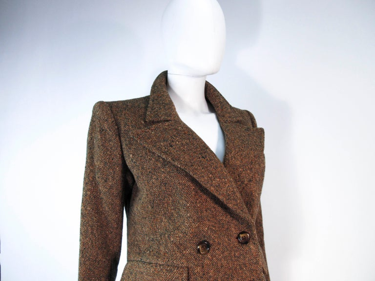 YVES SAINT LAURENT 1970's Brown & Green Skirt Suit Size 4 6 For Sale 5