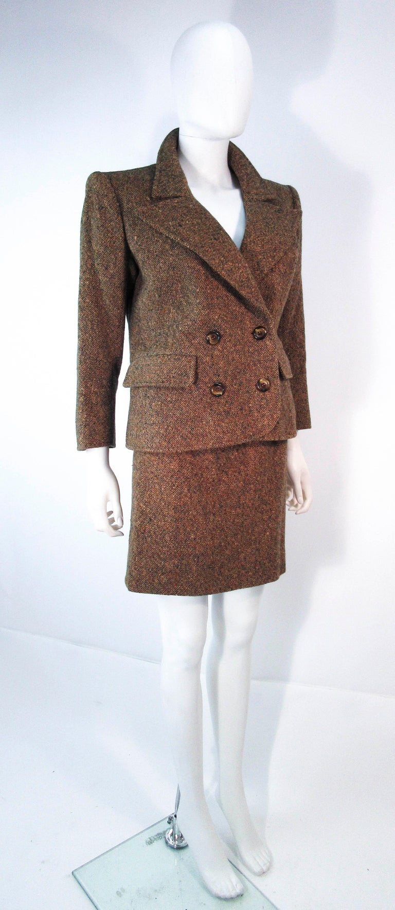 YVES SAINT LAURENT 1970's Brown & Green Skirt Suit Size 4 6 For Sale 3