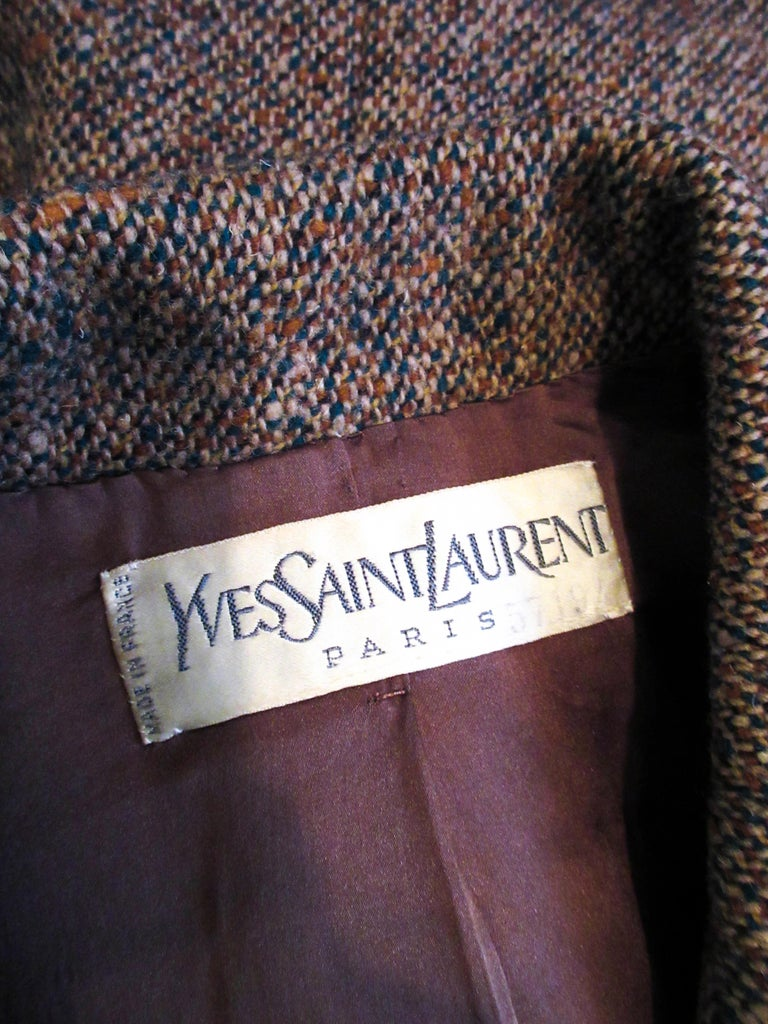 YVES SAINT LAURENT 1970's Brown & Green Skirt Suit Size 4 6 For Sale 10