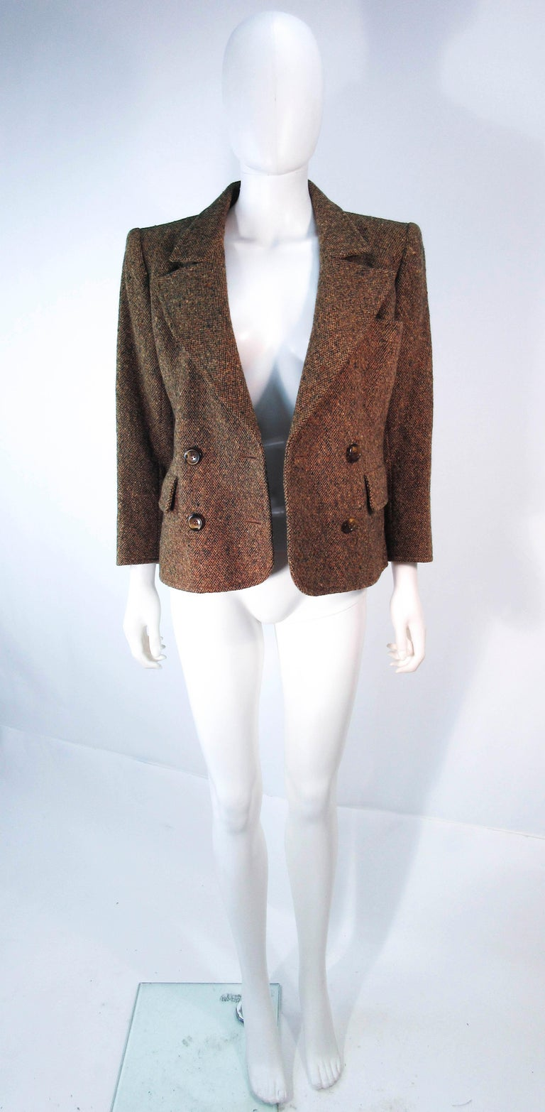 YVES SAINT LAURENT 1970's Brown & Green Skirt Suit Size 4 6 For Sale 13