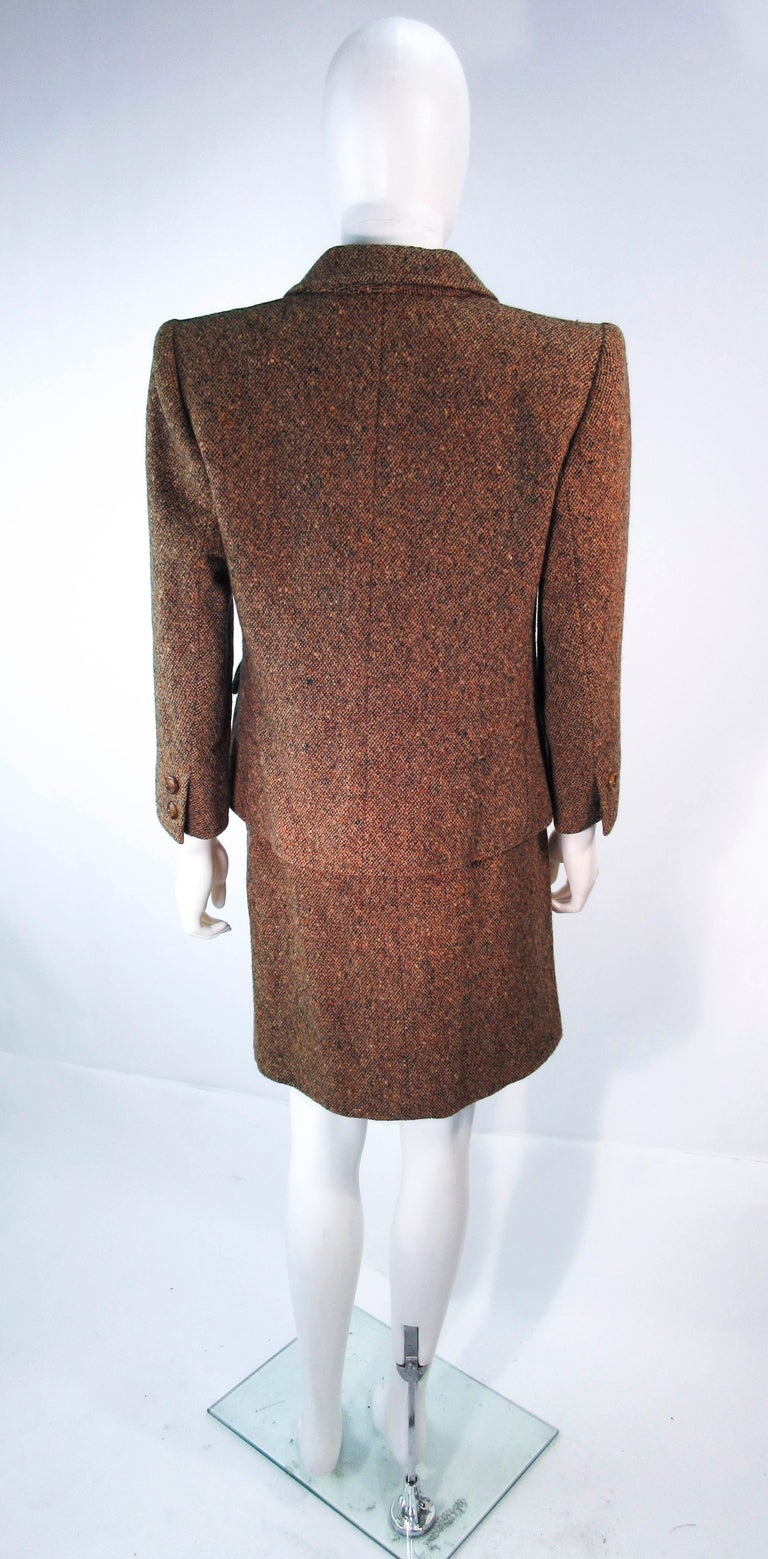 YVES SAINT LAURENT 1970's Brown & Green Skirt Suit Size 4 6 For Sale 7