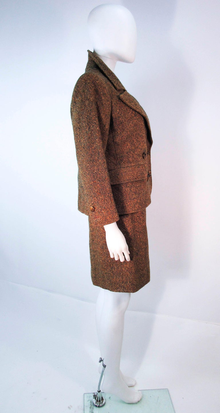 YVES SAINT LAURENT 1970's Brown & Green Skirt Suit Size 4 6 For Sale 6