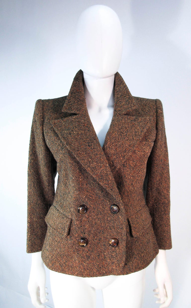 YVES SAINT LAURENT 1970's Brown & Green Skirt Suit Size 4 6 For Sale 12