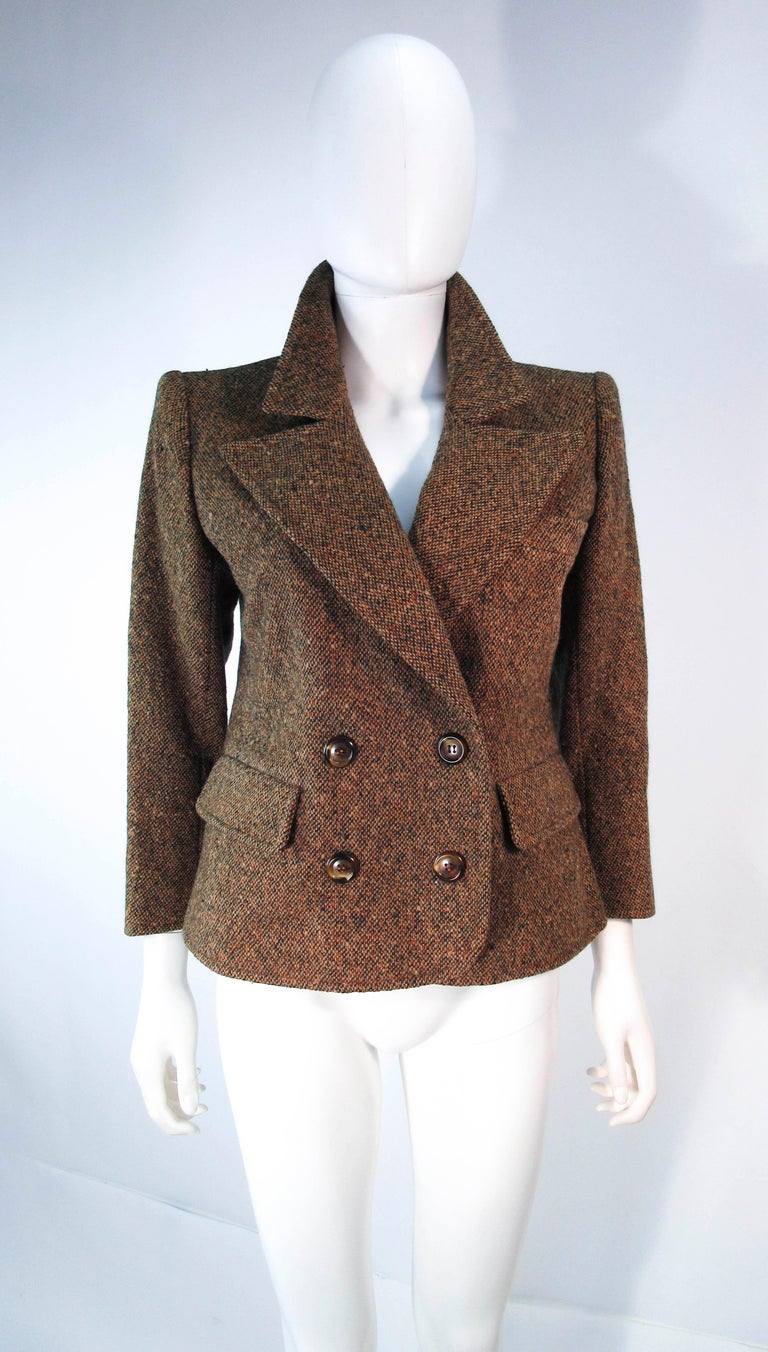 YVES SAINT LAURENT 1970's Brown & Green Skirt Suit Size 4 6 For Sale 11