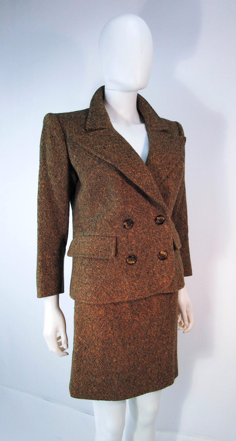 YVES SAINT LAURENT 1970's Brown & Green Skirt Suit Size 4 6 For Sale 4