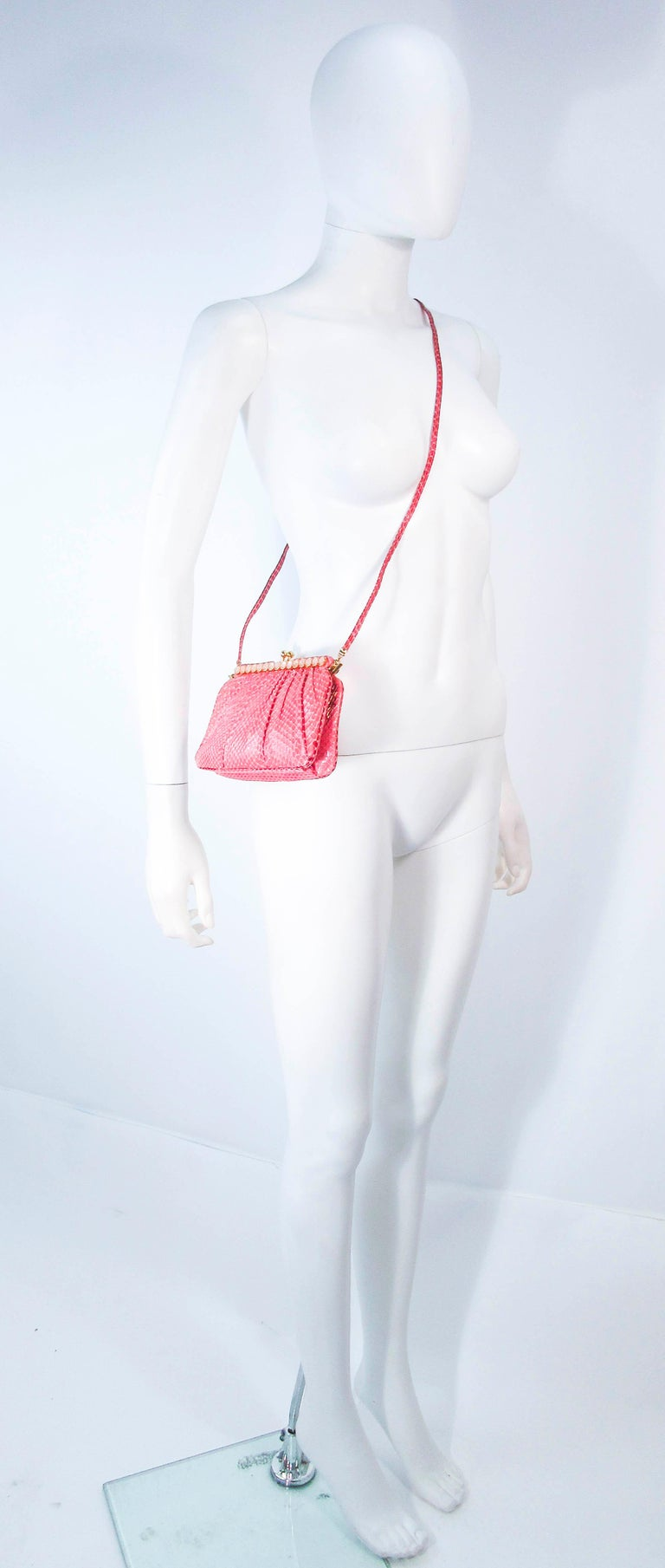 JUDITH LEIBER Pink Snakeskin Clutch w/ Optional Strap Mirror Coin Purse  For Sale 6