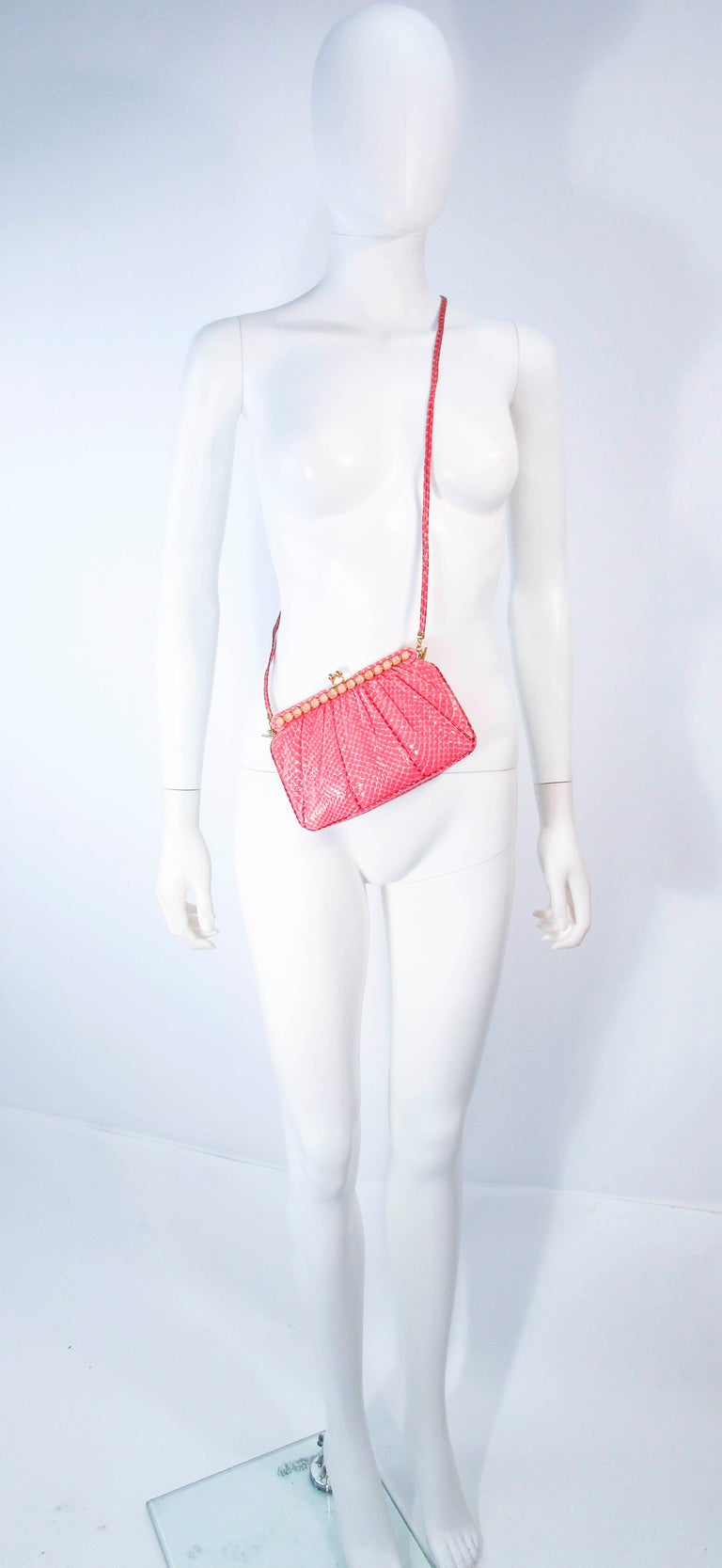 JUDITH LEIBER Pink Snakeskin Clutch w/ Optional Strap Mirror Coin Purse  For Sale 7