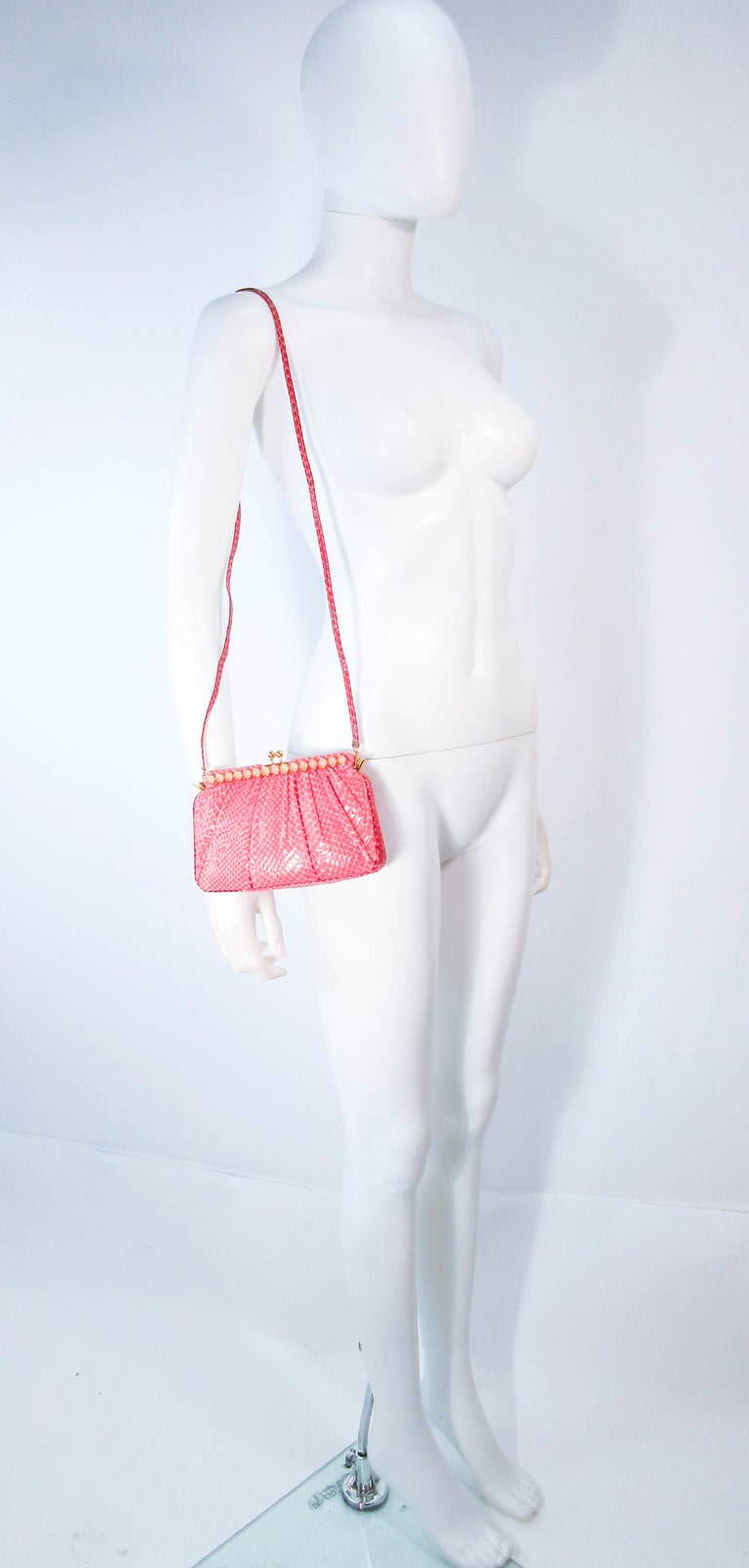JUDITH LEIBER Pink Snakeskin Clutch w/ Optional Strap Mirror Coin Purse  For Sale 8