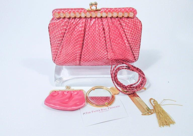 Women's JUDITH LEIBER Pink Snakeskin Clutch w/ Optional Strap Mirror Coin Purse  For Sale