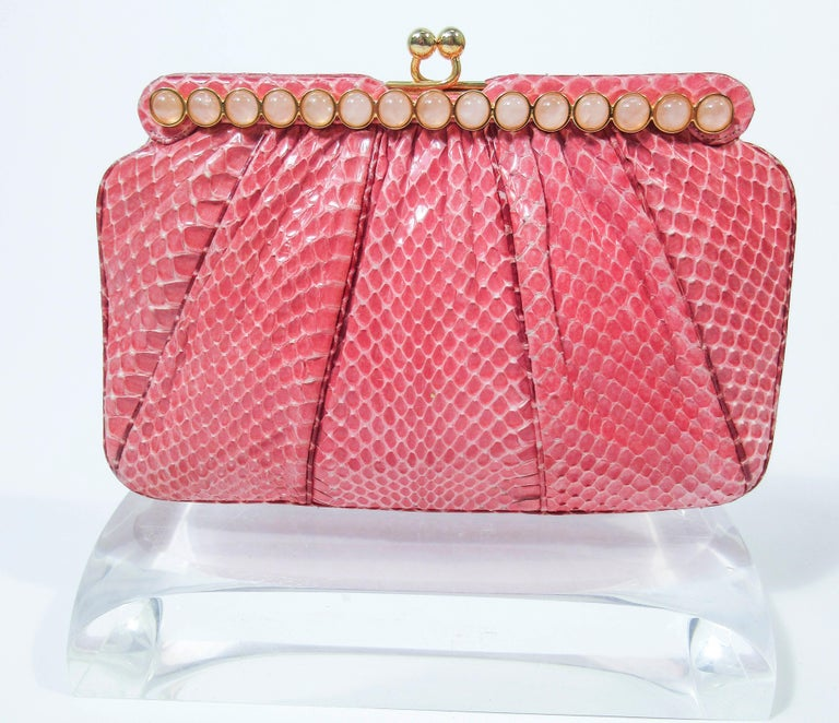 JUDITH LEIBER Pink Snakeskin Clutch w/ Optional Strap Mirror Coin Purse  For Sale 9