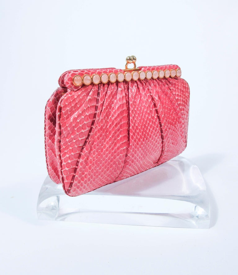 JUDITH LEIBER Pink Snakeskin Clutch w/ Optional Strap Mirror Coin Purse  For Sale 1