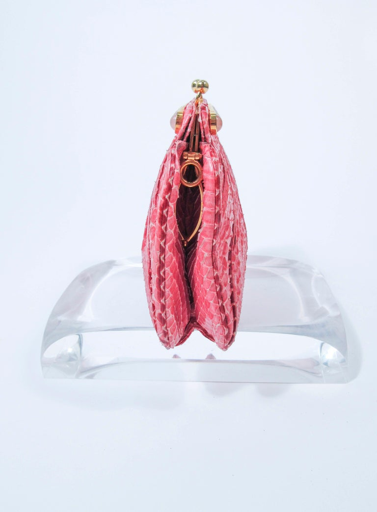 JUDITH LEIBER Pink Snakeskin Clutch w/ Optional Strap Mirror Coin Purse  For Sale 2