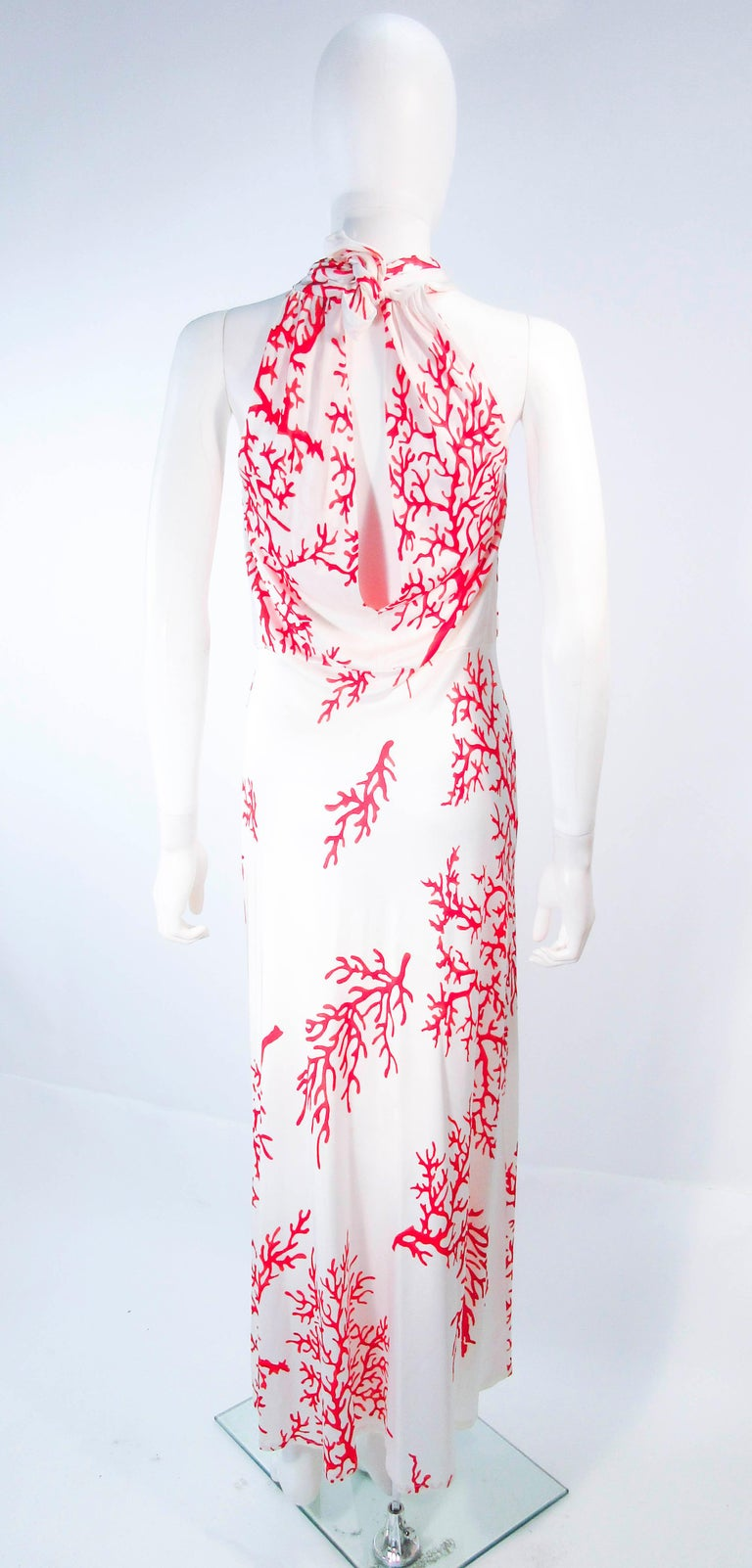 VALENTINO White with Red Coral Pattern Criss Cross Jersey Halter Dress Size 42 For Sale 5