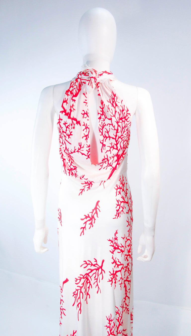 VALENTINO White with Red Coral Pattern Criss Cross Jersey Halter Dress Size 42 For Sale 6