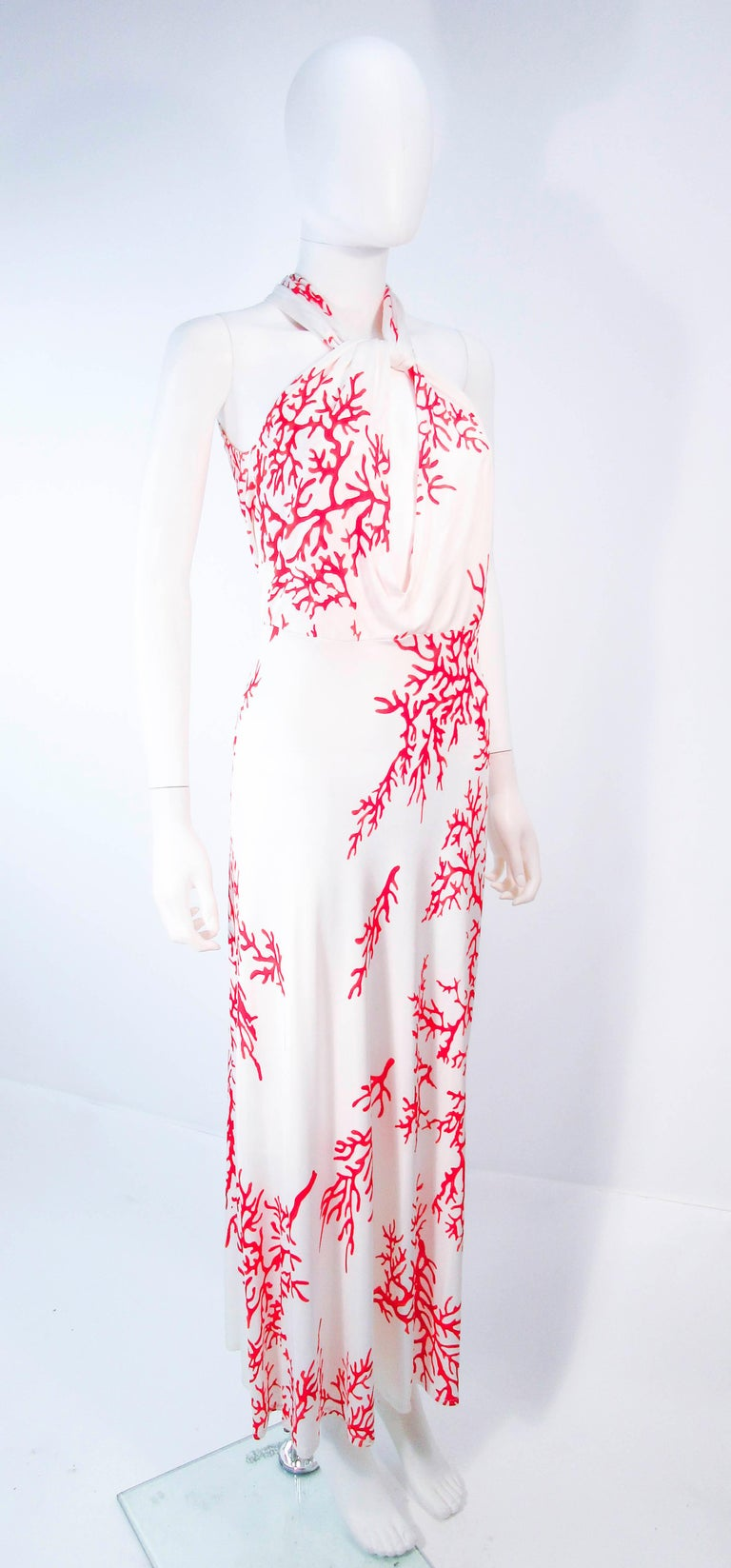Women's VALENTINO White with Red Coral Pattern Criss Cross Jersey Halter Dress Size 42 For Sale