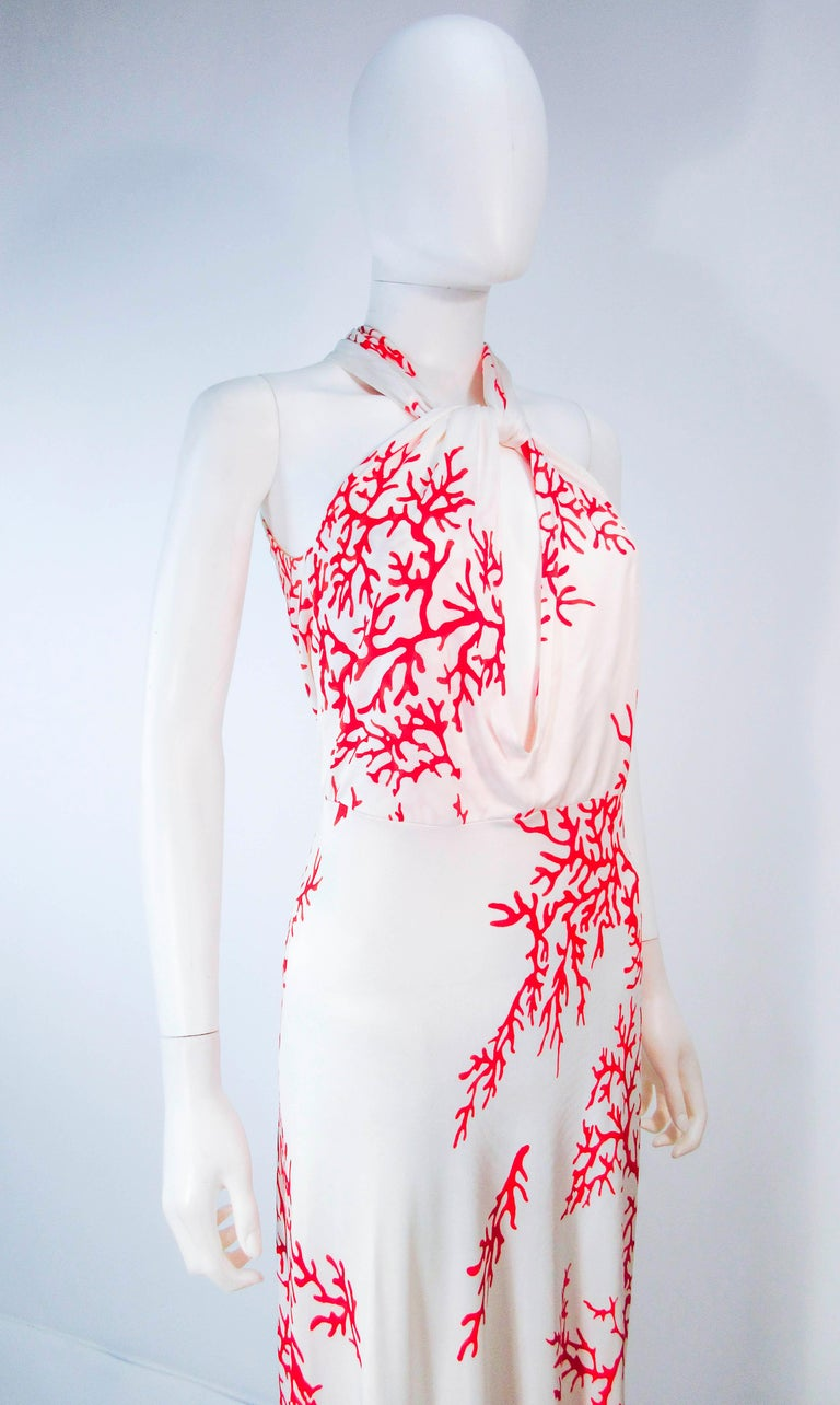 VALENTINO White with Red Coral Pattern Criss Cross Jersey Halter Dress Size 42 For Sale 1