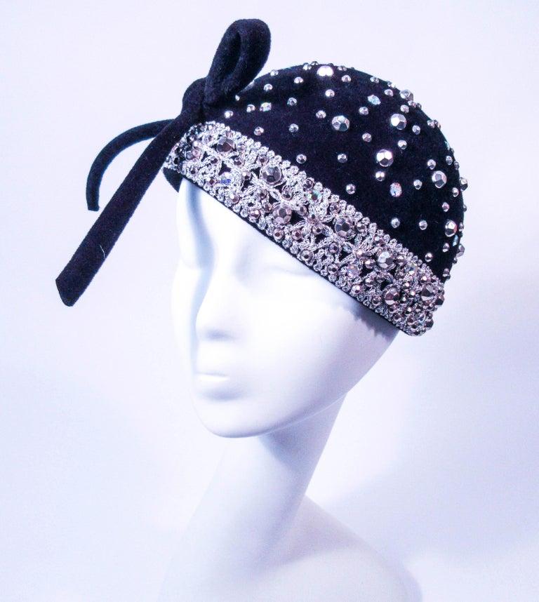 8bbdfc87fba YVES SAINT LAURENT Vintage Black Felt Rhinestone Embellished Hat with Bow  For Sale 5