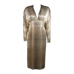 Tokyo Kazuko Silver and White Hand Beaded Long Drape Sleeve Cocktail Gown Size S