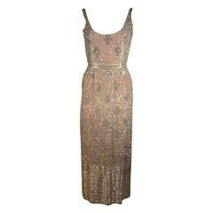 Silver Hand Beaded Rhinestone Gown w Raspberry Silk Lining & Back Slit Size S