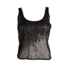 Versace Atelier Beaded Black Mesh Evening Top Size Small