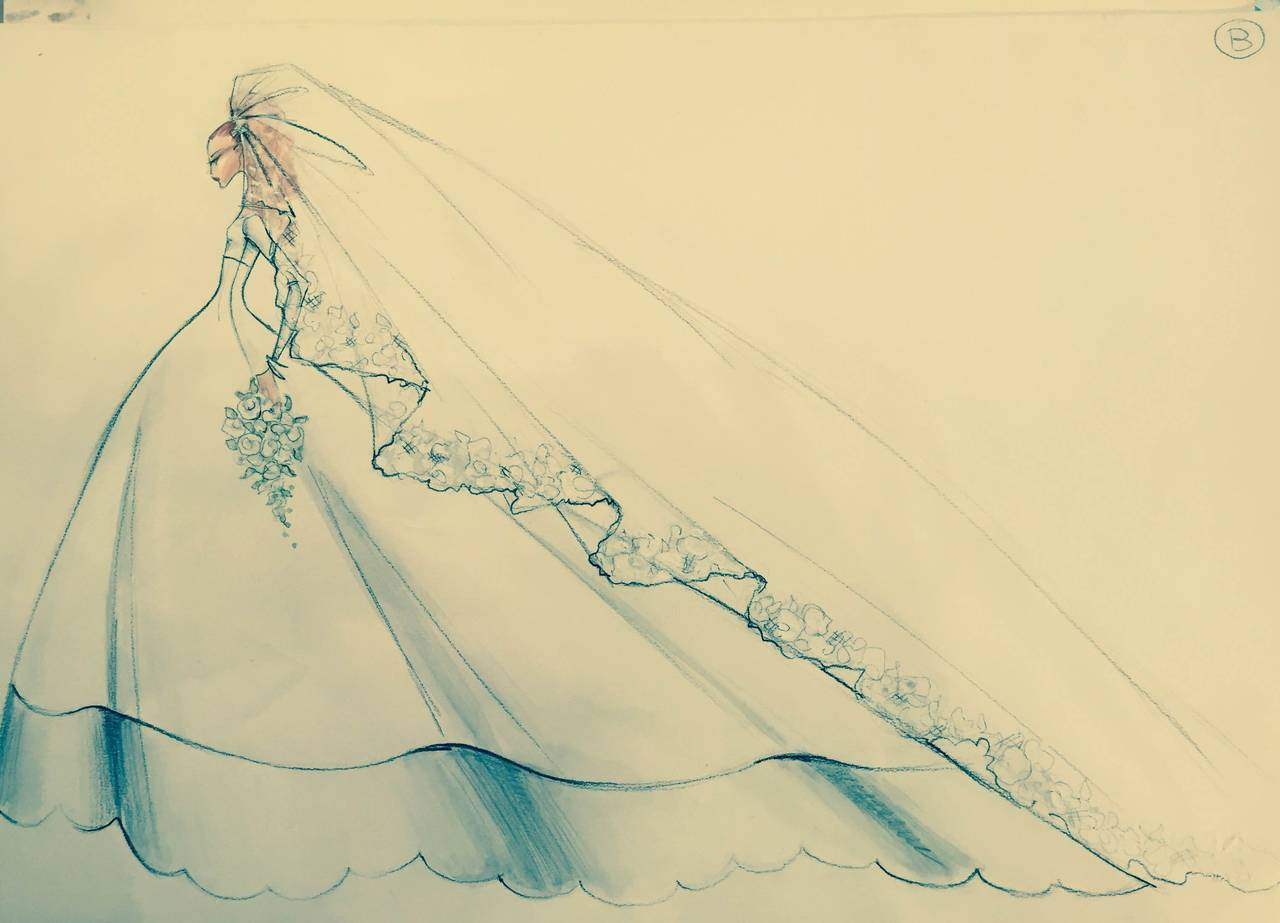 Valentino 1996 Haute Couture Wedding Gown with Valentino Sketches For Sale 4