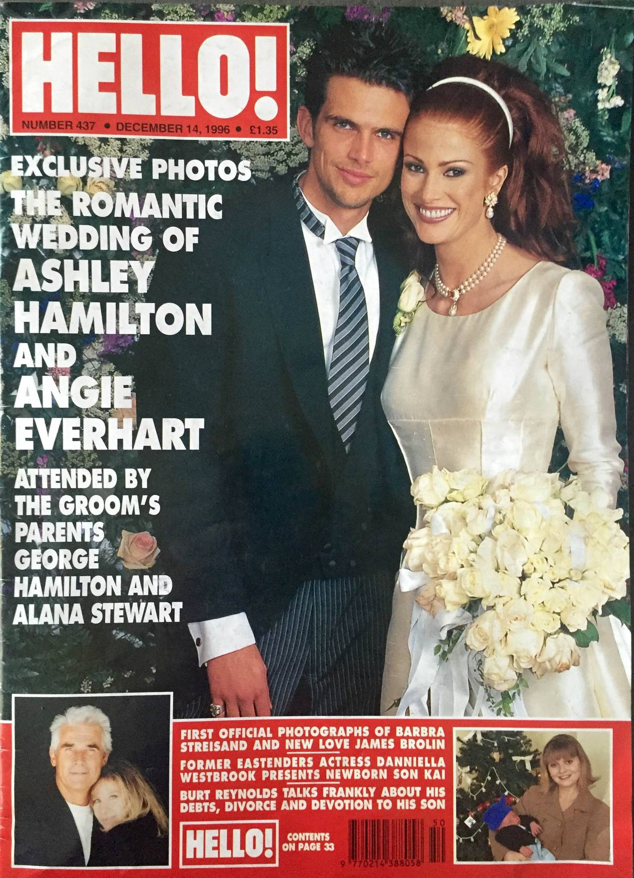 Valentino Haute Couture wedding gown.  Angie Everhart had been a Valentino model in the early 1990s and she commissioned him to create this $70,000.00 spectacular gown for her marriage to Ashley Hamilton. Comes with original sketches.   The