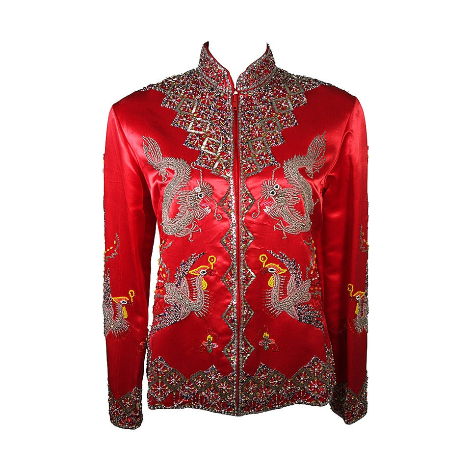 Dynasty For Neiman Marcus Red Silk Hand Beaded Sequined Dragon & Phoenix Jacket For Sale