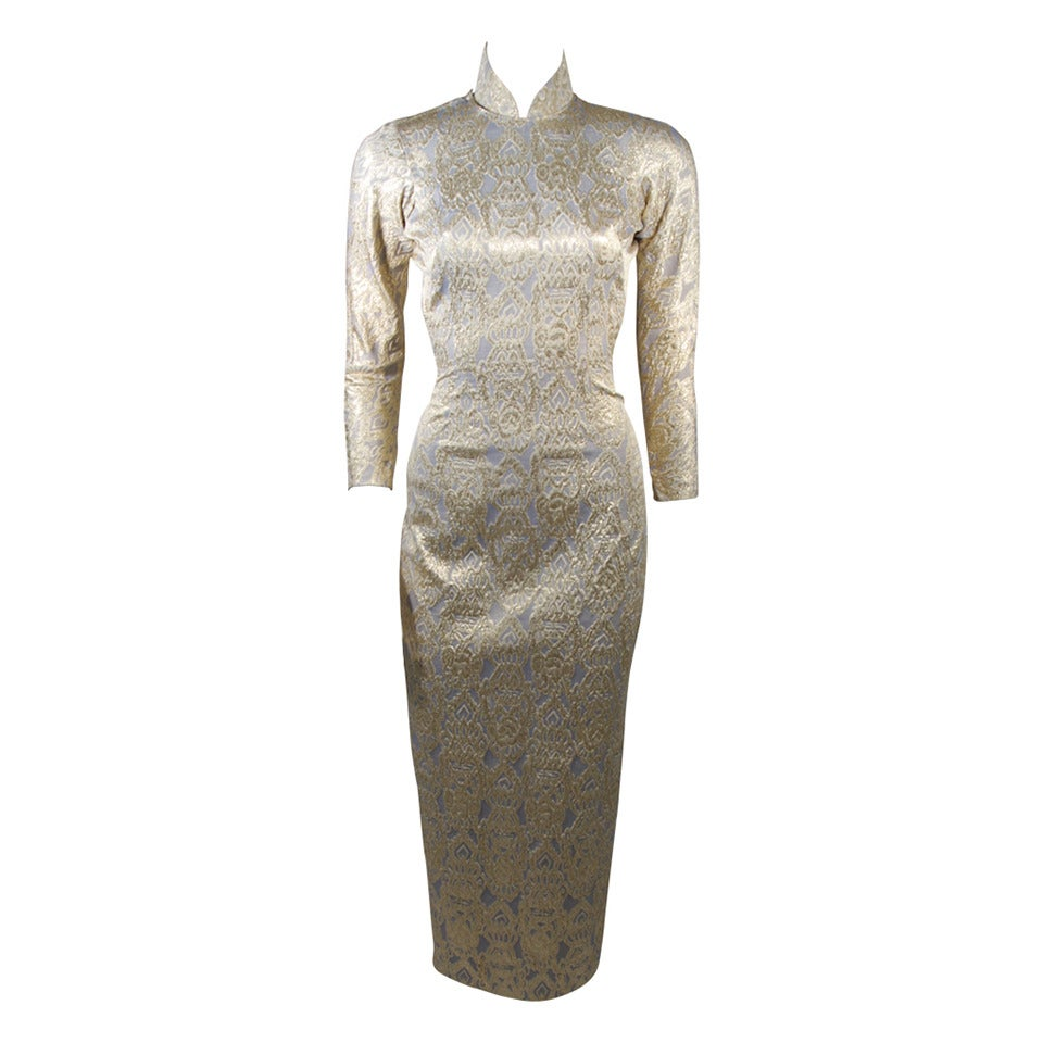 Oriental Inspired Pale Blue & Gold Silk Brocade Cheongsam Dress Sz 0-2