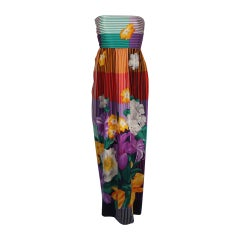 Helga Asian Inspired Vibrant Silk Multi-Color Gown with Large Shawl Size Medium