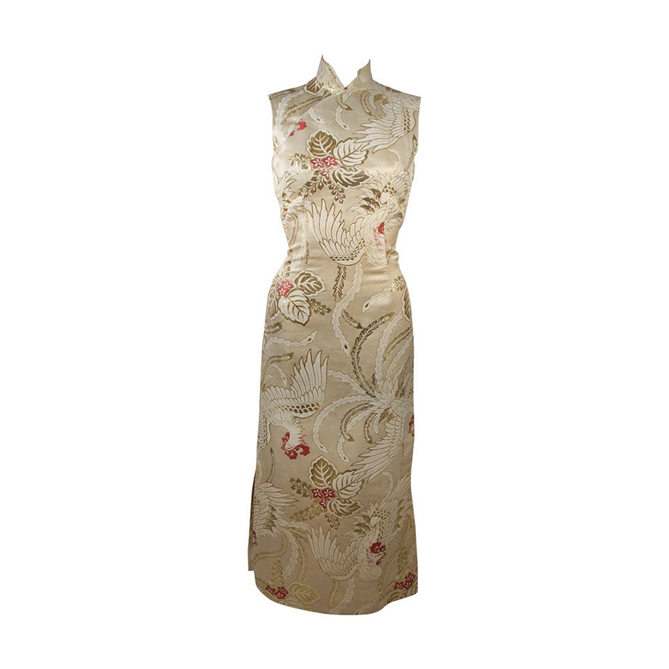 1950\'s Ivory and Gold Brocade Phoenix w. Red Flowers Cocktail Dress ...