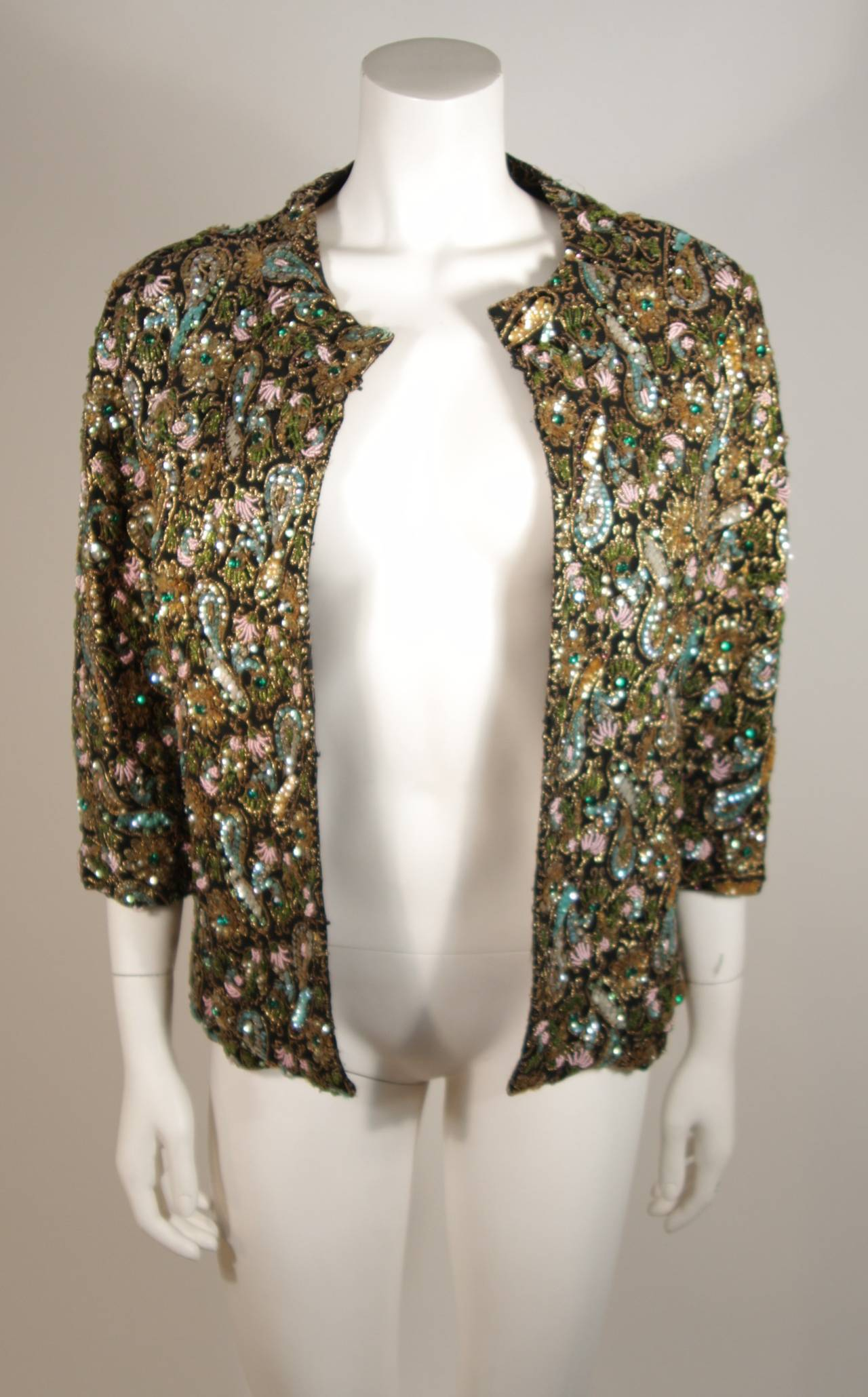 Diane Imports Multi Colored Hand Beaded Sequin Embroidered