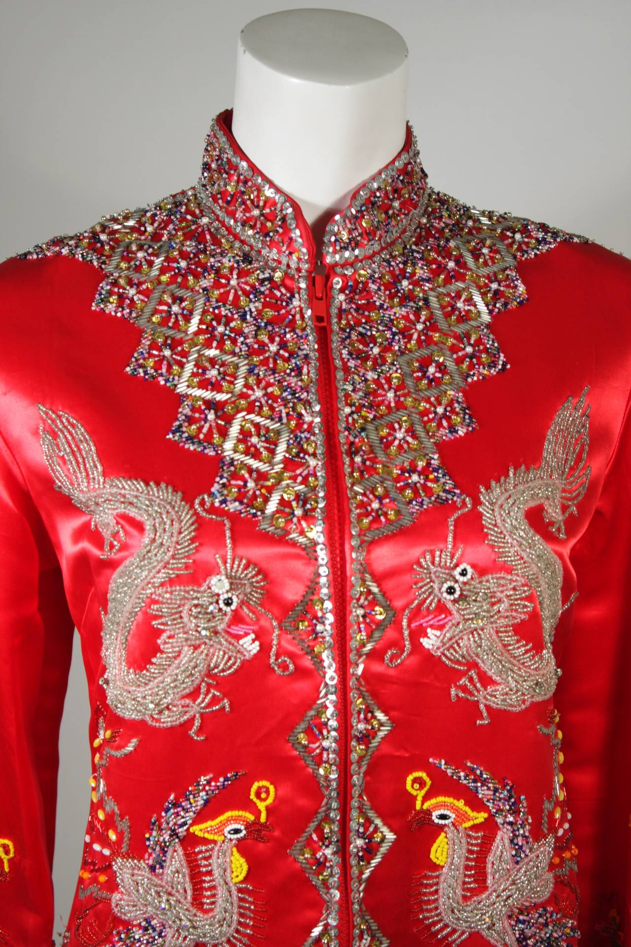 Dynasty For Neiman Marcus Red Silk Hand Beaded Sequined Dragon & Phoenix Jacket For Sale 1