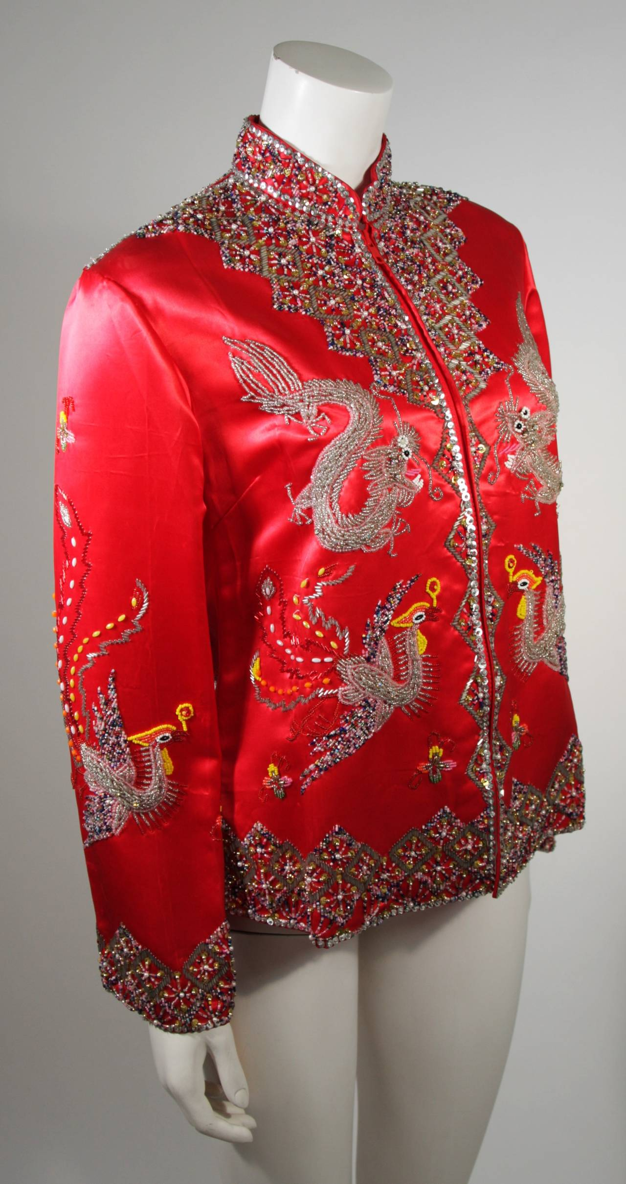 Dynasty For Neiman Marcus Red Silk Hand Beaded Sequined Dragon & Phoenix Jacket In Excellent Condition For Sale In Los Angeles, CA