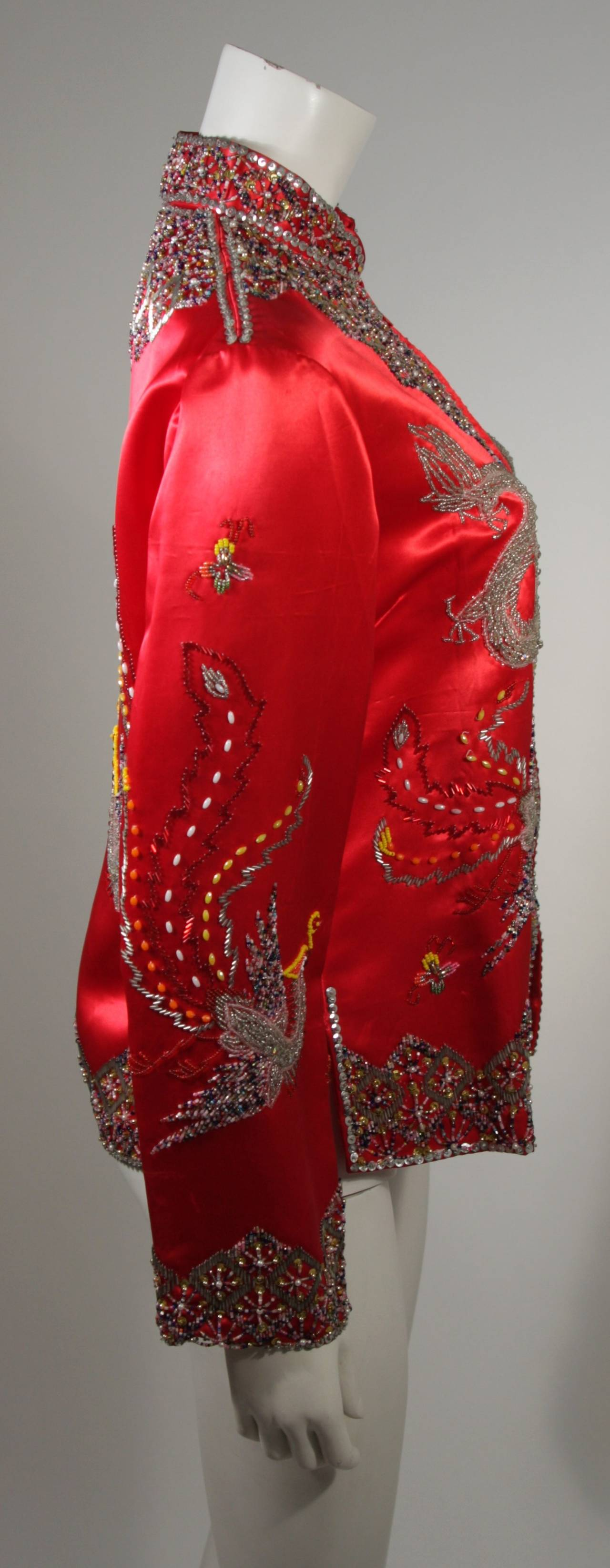 Women's Dynasty For Neiman Marcus Red Silk Hand Beaded Sequined Dragon & Phoenix Jacket For Sale