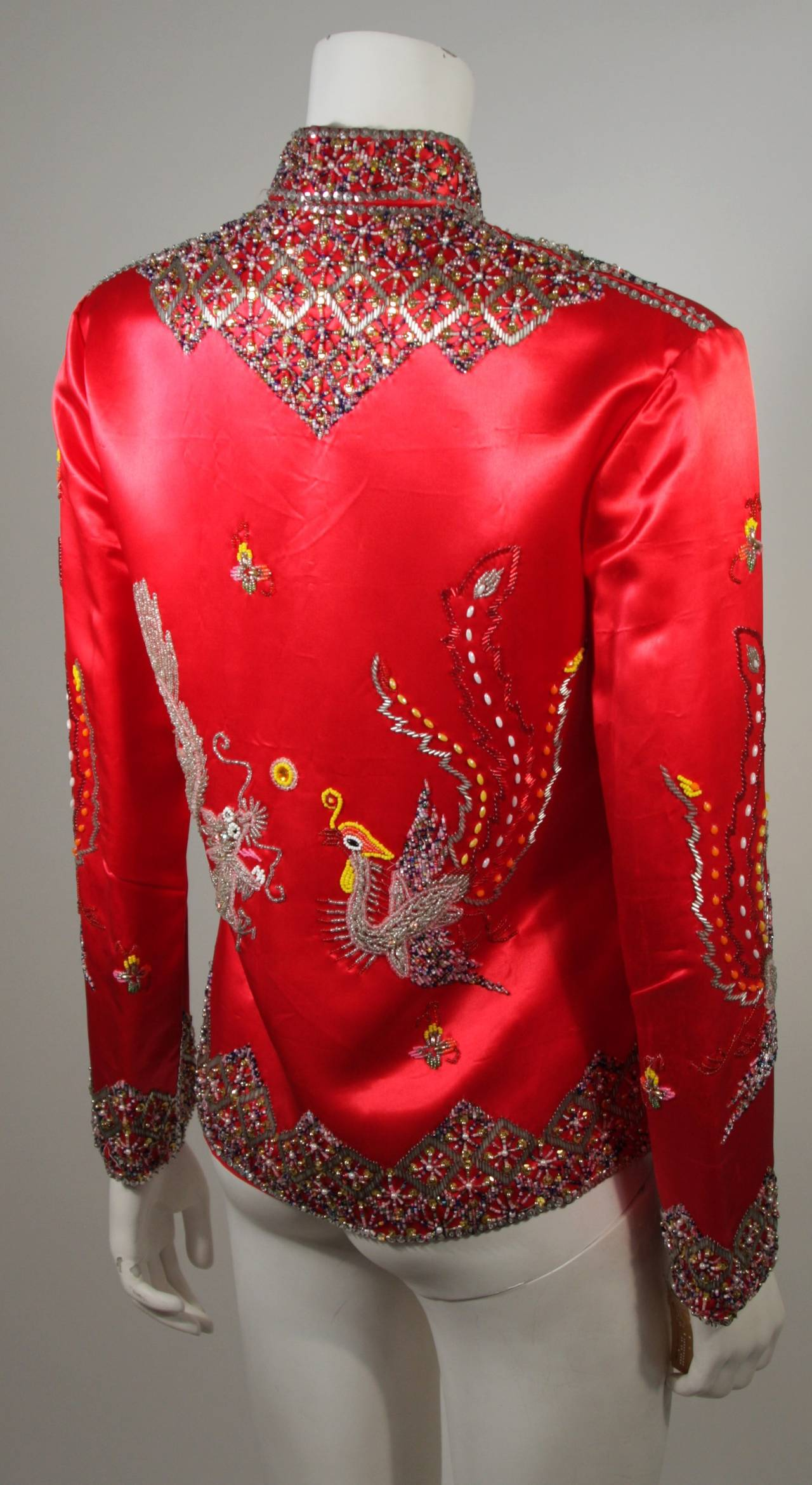 Dynasty For Neiman Marcus Red Silk Hand Beaded Sequined Dragon & Phoenix Jacket For Sale 2