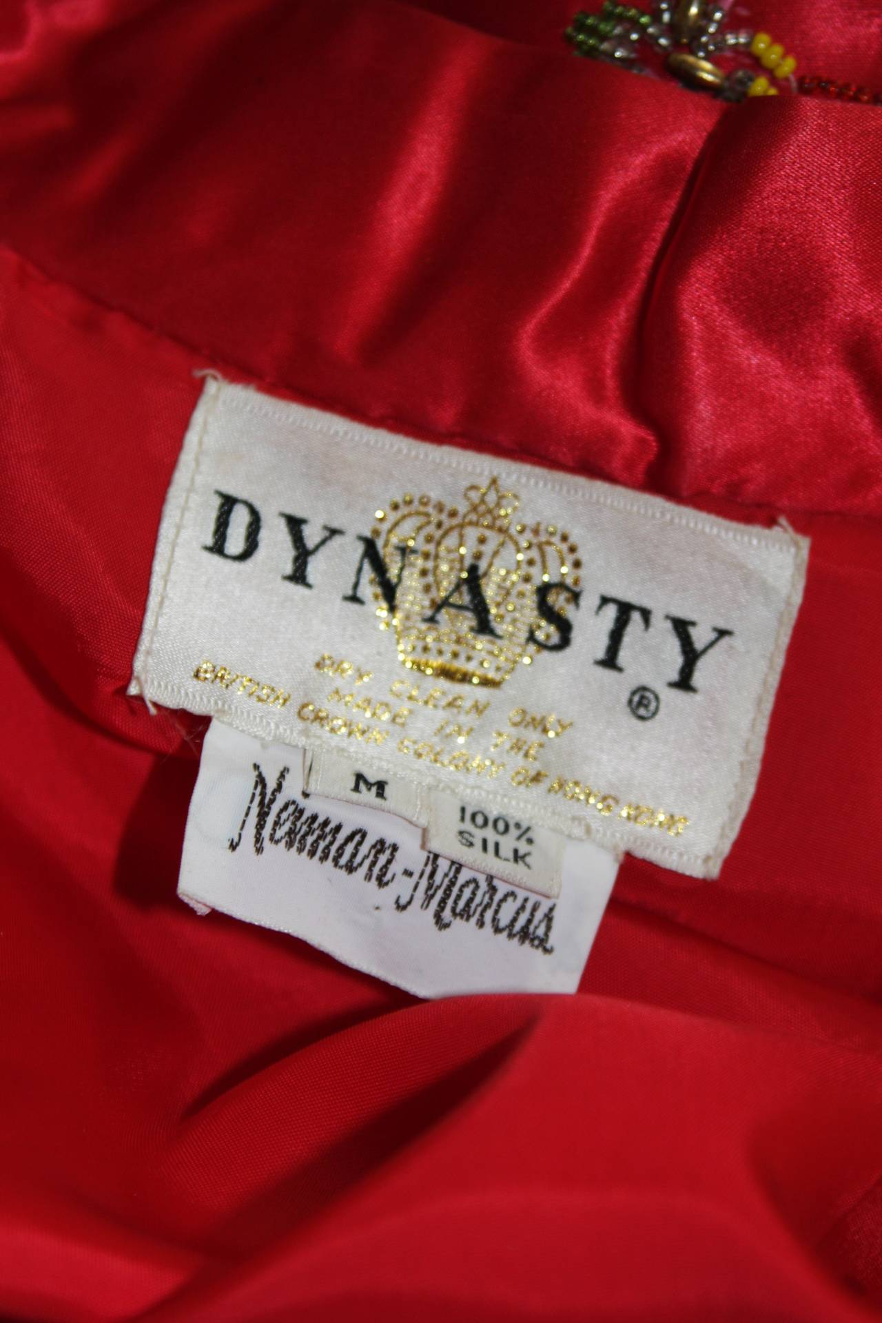 Dynasty For Neiman Marcus Red Silk Hand Beaded Sequined Dragon & Phoenix Jacket For Sale 5
