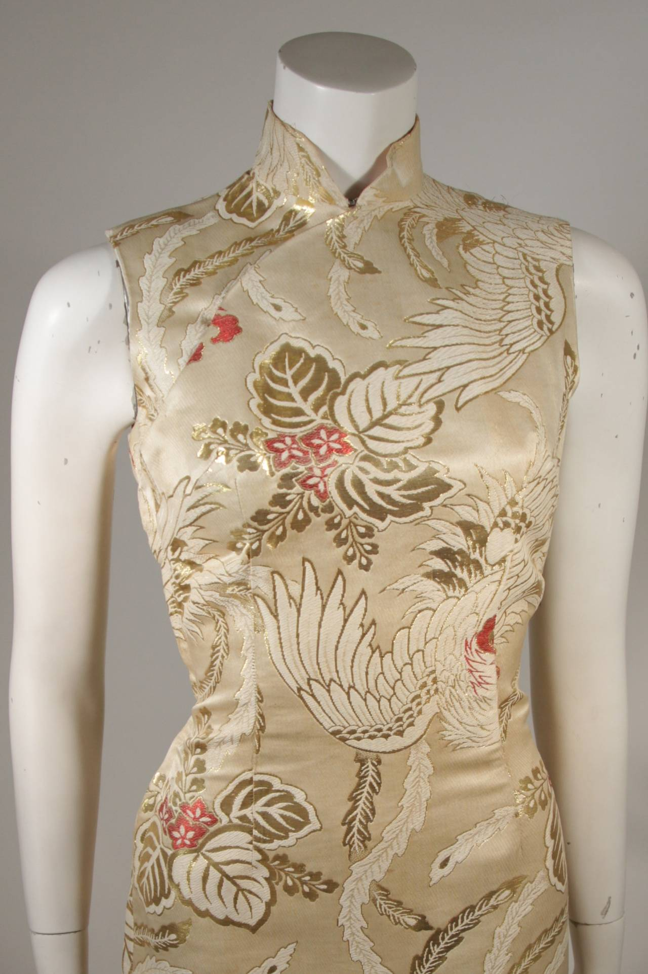 Women's 1950's Ivory and Gold Brocade Phoenix w. Red Flowers Cocktail Dress XS For Sale