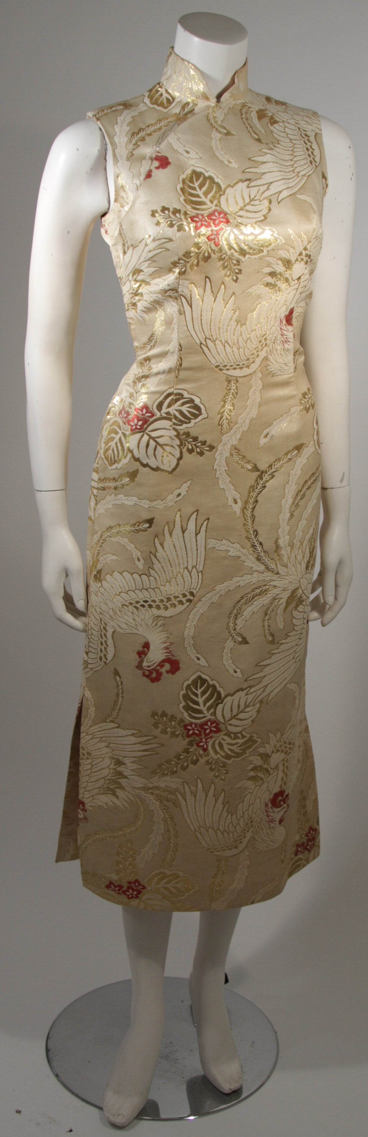 Brown 1950's Ivory and Gold Brocade Phoenix w. Red Flowers Cocktail Dress XS For Sale