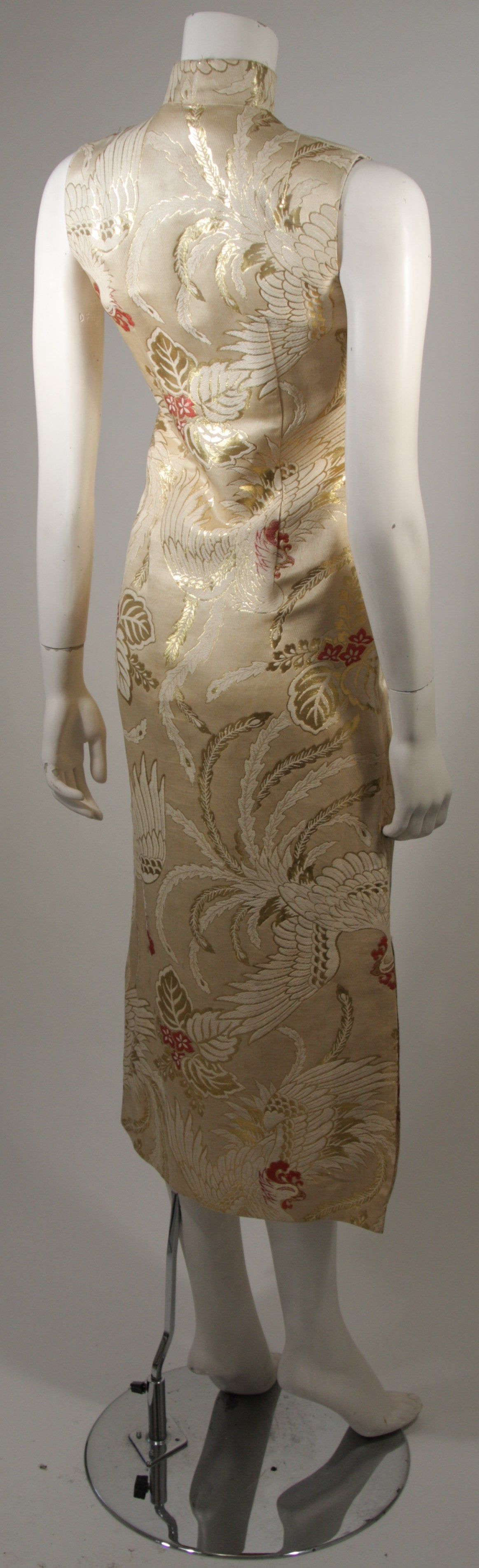 1950's Ivory and Gold Brocade Phoenix w. Red Flowers Cocktail Dress XS For Sale 1