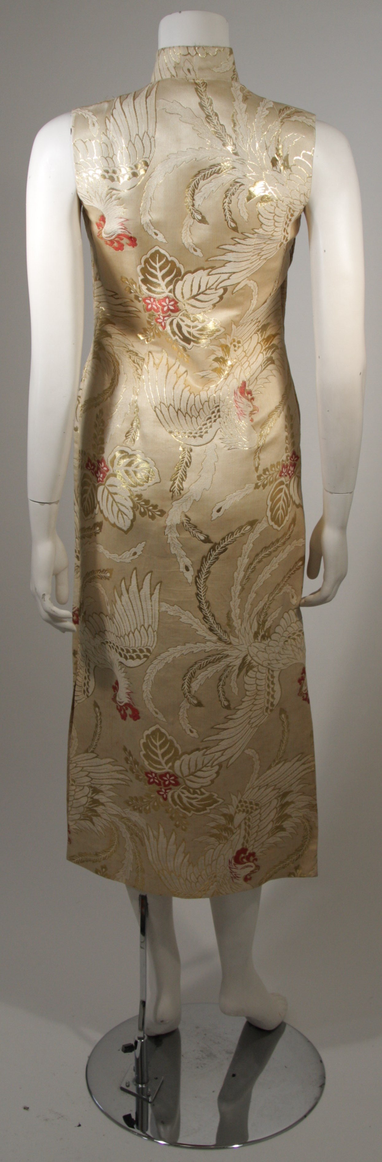1950's Ivory and Gold Brocade Phoenix w. Red Flowers Cocktail Dress XS For Sale 3