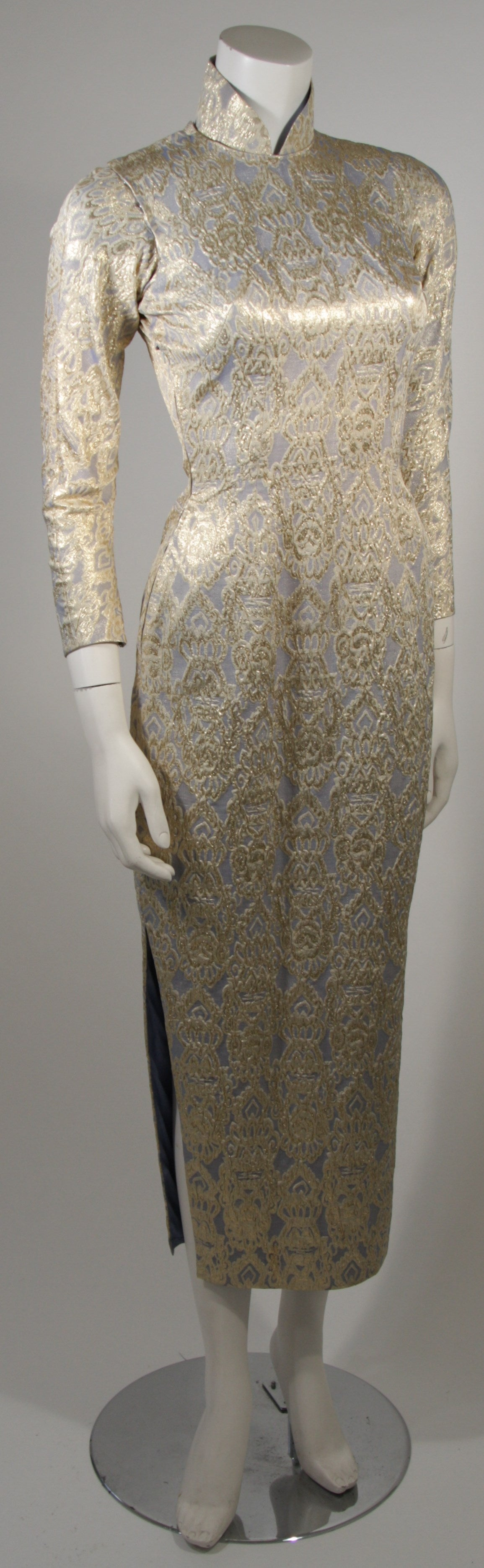 Oriental Inspired Pale Blue & Gold Silk Brocade Cheongsam Dress Sz 0-2 For Sale 1
