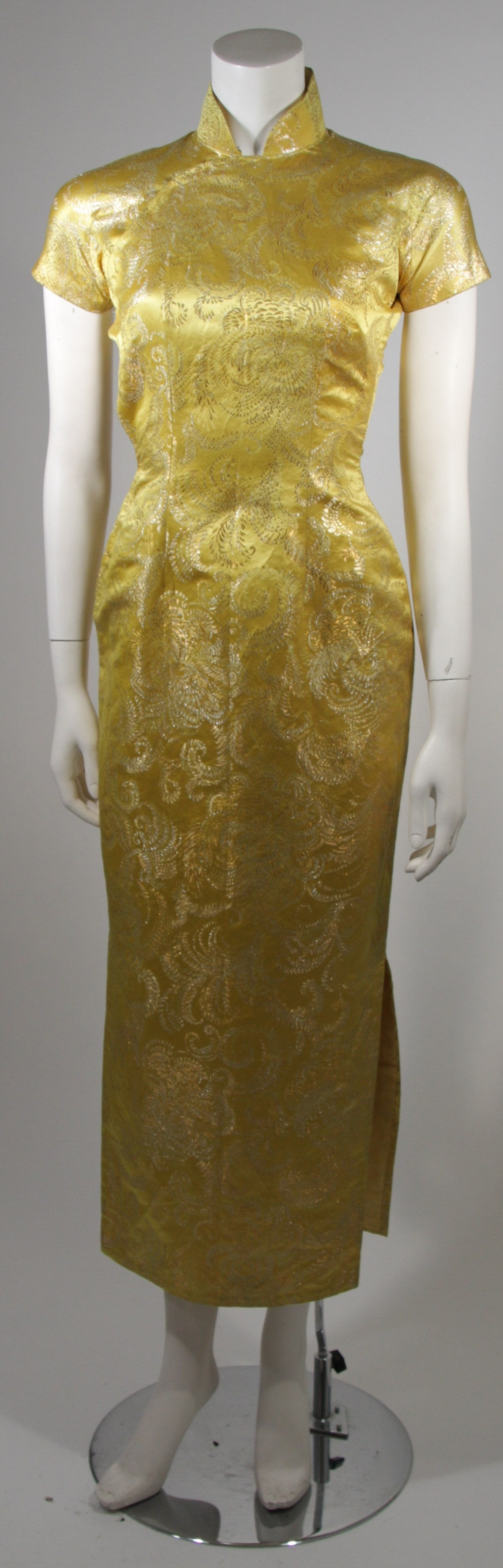1950's Ornate Silk Brocade Golden Yellow Cheongsam Cocktail Gown  Size XS 2