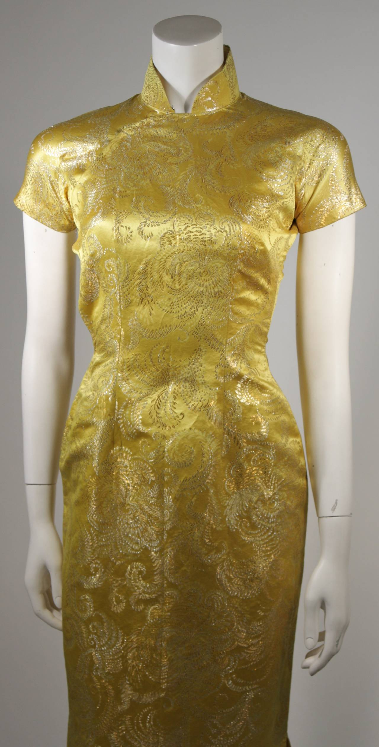 1950's Ornate Silk Brocade Golden Yellow Cheongsam Cocktail Gown  Size XS 3