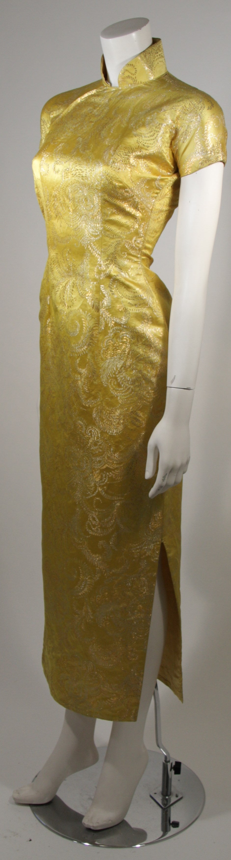 1950's Ornate Silk Brocade Golden Yellow Cheongsam Cocktail Gown  Size XS 4
