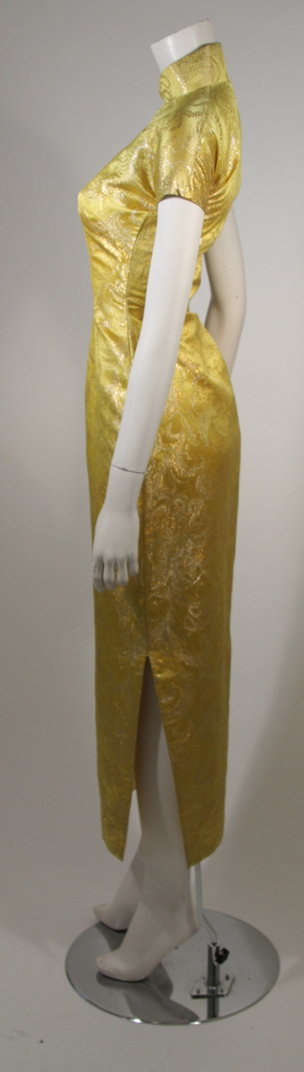 1950's Ornate Silk Brocade Golden Yellow Cheongsam Cocktail Gown  Size XS 5