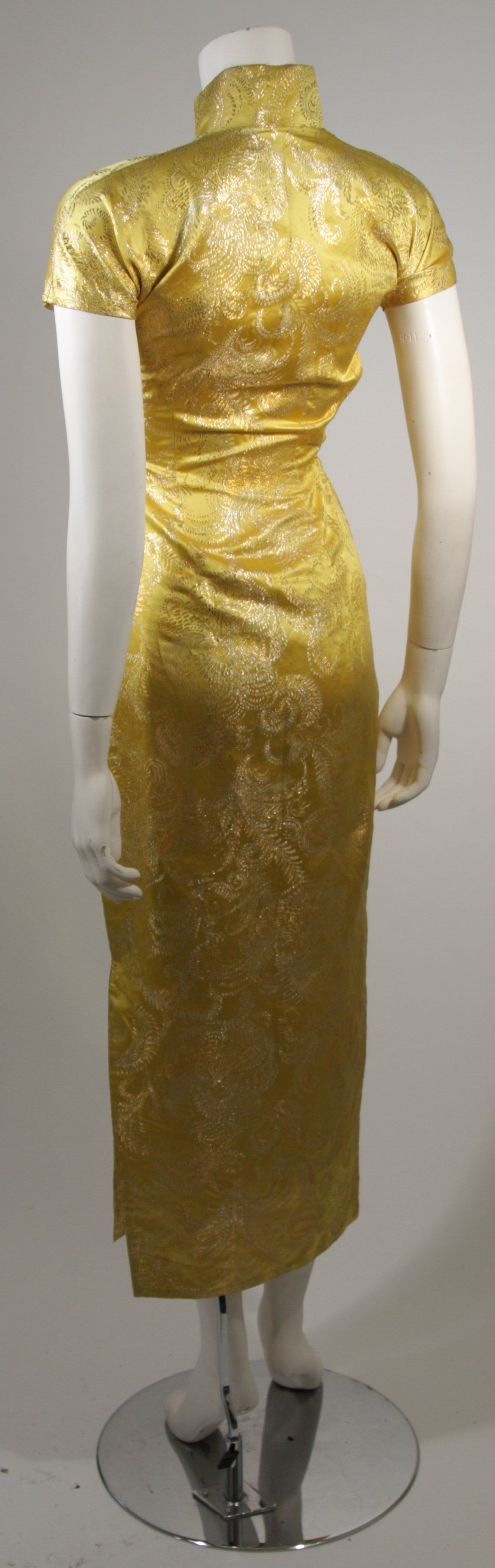 1950's Ornate Silk Brocade Golden Yellow Cheongsam Cocktail Gown  Size XS 6