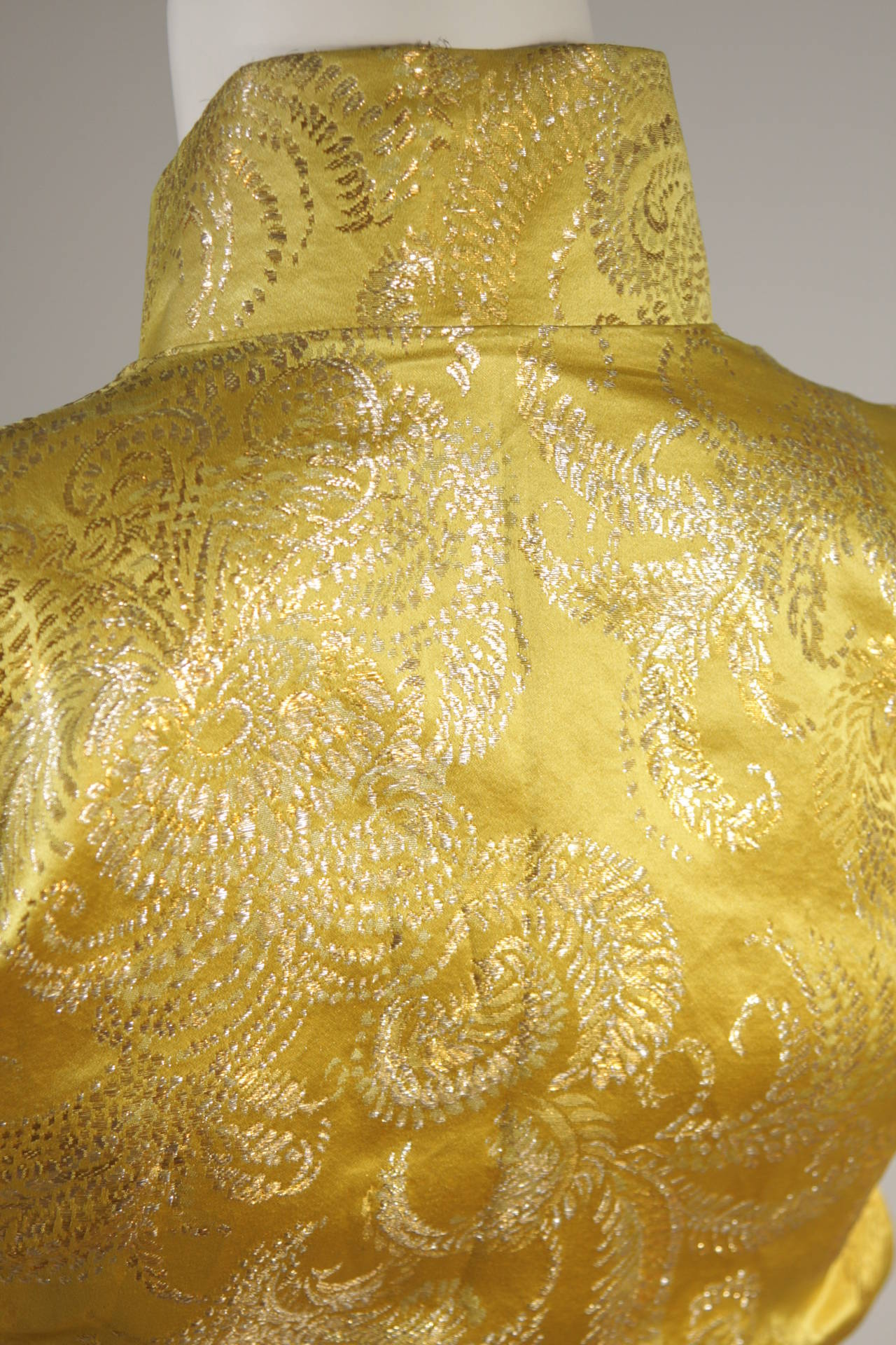 1950's Ornate Silk Brocade Golden Yellow Cheongsam Cocktail Gown  Size XS 7