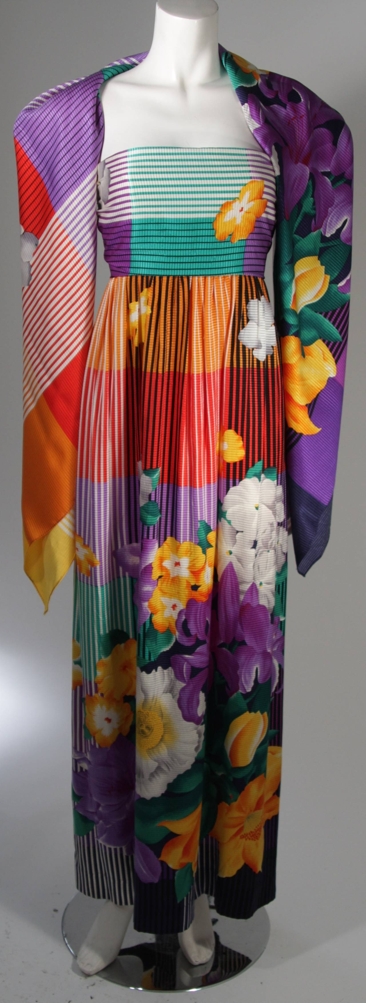 Helga Asian Inspired Vibrant Silk Multi-Color Gown with Large Shawl Size Medium 3